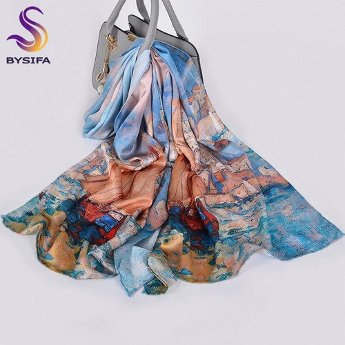 Pure Silk Scarf Foulard Fashion Oil Painting Women Long Scarves Shawls Luxury Brand Blue Khaki Neck Scarf Hijab 175*52 cm