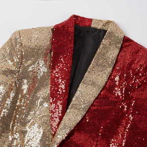 Men Half Colors Gold Red Black Sequins Slim Fit Blazers Night Club Singers Sequin Suit Jacket Shawl Lapel Party Wear - moonaro