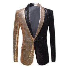 Load image into Gallery viewer, Men Half Colors Gold Red Black Sequins Slim Fit Blazers Night Club Singers Sequin Suit Jacket Shawl Lapel Party Wear - moonaro