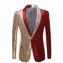Load image into Gallery viewer, Men Half Colors Gold Red Black Sequins Slim Fit Blazers Night Club Singers Sequin Suit Jacket Shawl Lapel Party Wear