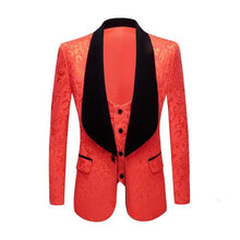 Load image into Gallery viewer, Men Classic Shawl Lapel 2 Pieces Wedding Groom Jacquard Tuxedo Pink Yellow Black Red Pure White Slim Fit Jacket And Vest