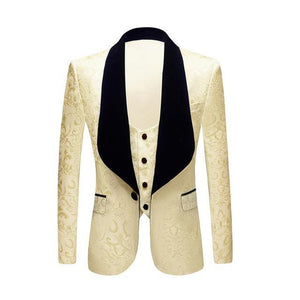 Men Classic Shawl Lapel 2 Pieces Wedding Groom Jacquard Tuxedo Pink Yellow Black Red Pure White Slim Fit Jacket And Vest