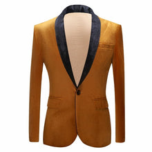 Load image into Gallery viewer, Groom Shawl Lapel Gold Blazer For Men Shiny Velvet Suit Jacket Stage Singers Prom Slim Fit Blazers