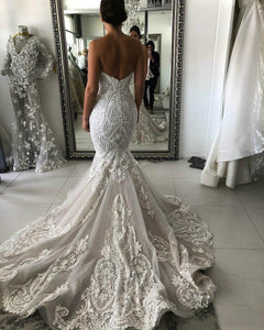 Sweetheart Lace Mermaid Wedding Dress Sexy Backless Wedding Gowns Gorgeous Buttons Back Bride Dress robe