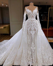 Load image into Gallery viewer, Long Sleeve Mermaid Wedding Dress With Detachable Train Luxury Sheath Lace Appliqued Bridal Gown Vestido De Noiva
