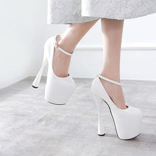 Load image into Gallery viewer, Party Super High Heels Shoes Women PU Leather Round Toe Ankle Strap Pumps Platform Shoes - moonaro
