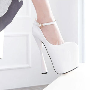 Party Super High Heels Shoes Women PU Leather Round Toe Ankle Strap Pumps Platform Shoes - moonaro