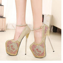 Load image into Gallery viewer, Crystal High Heels Women 19cm Super Heel Platform Peep Toe Shoes Sliver Gold Diamond Party Wedding Pumps