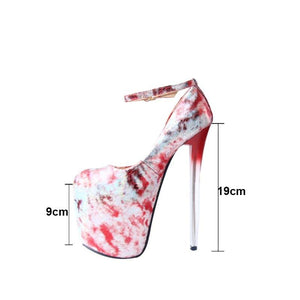 20CM Super Fine Crystal Heels Pumps Sexy Relief Women's High Heels Ankle Wrap Shoes