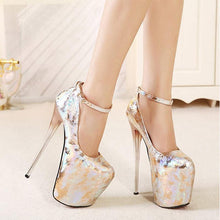 Load image into Gallery viewer, 20CM Super Fine Crystal Heels Pumps Sexy Relief Women's High Heels Ankle Wrap Shoes