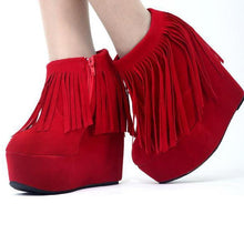 Load image into Gallery viewer, 15cm High Heel Party Platform Shoes Women Red Color Ankle Boots Wedding Pumps