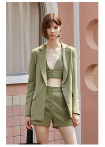 Ladies 3 Pieces Set Blazer woman Slim Sexy Blazer Camis Tops and Women short Pants Suits streetwear