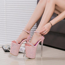 Load image into Gallery viewer, 20CM Super High-heeled Sequins Gladiator Sandals Women Sexy Office Party Shoes Woman Peep Toe Sandals
