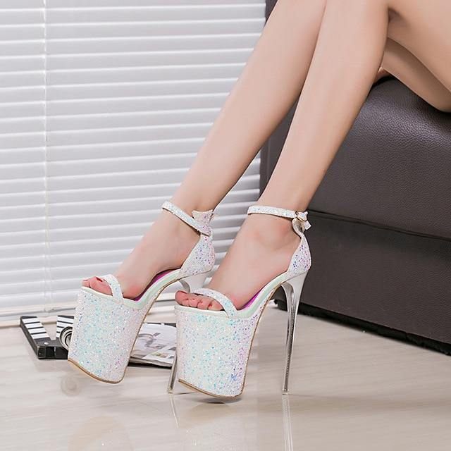 20CM Super High-heeled Sequins Gladiator Sandals Women Sexy Office Party Shoes Woman Peep Toe Sandals