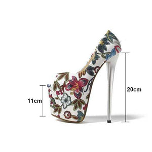 20cm Thin High Heels T-strap Sandals Women Flower Style Wedding Party Shoes