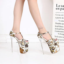 Load image into Gallery viewer, 20cm Thin High Heels T-strap Sandals Women Flower Style Wedding Party Shoes