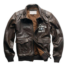 Load image into Gallery viewer, Men's cow leather jacket genuine cowhide flying tiger leather jacket super quality leather jacket