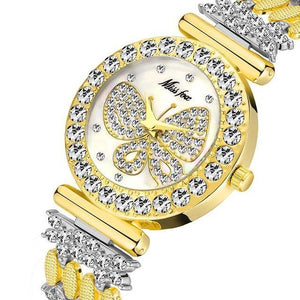 Butterfly Women Watches Luxury Brand Big Diamond 18K Gold Watch Waterproof Special Bracelet Ladies Wrist Watch