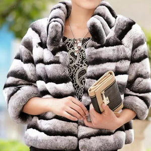 Winter Jacket Women Real Fur Coat Natural Rex Rabbit Fur Outerwear Brand Luxury Thick Warm Streetwear Stand Collar