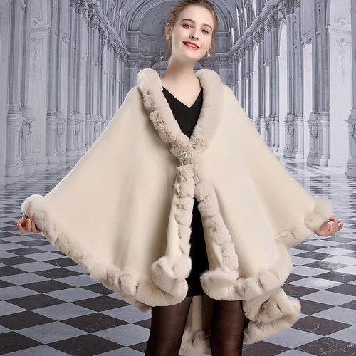 Women's Winter Ponchos Faux Rabbit Fur Collar Shawl Cape Plus Size Loose Thick Warm Cardigan Cloak Coat