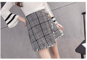 Fashion Woolen Skirts Women's Mini Winter Wool Skirt Gray And Red High Waist Irregular Short Plaid Skirts - moonaro