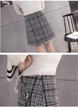 Load image into Gallery viewer, Fashion Woolen Skirts Women's Mini Winter Wool Skirt Gray And Red High Waist Irregular Short Plaid Skirts - moonaro