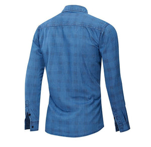 New 100% Cotton Casual Plaid Shirt Men Slim Fit Button Down Plaid Shirt Male Long Sleeve High Quality Shirts