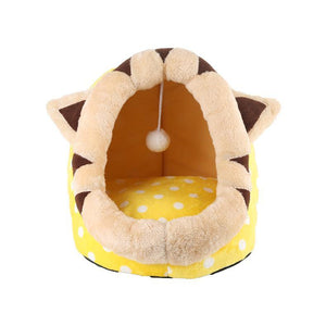 Cat Dog Christmas House For Cat Warm Cat Bed With Antlers Cats Basket With Detachable Dog Bed Cute Cat Panier Red Cats Cushion - moonaro