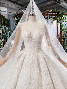 bohemian wedding dress with veil o-neck ball gown long sleeve bridal  gown with train