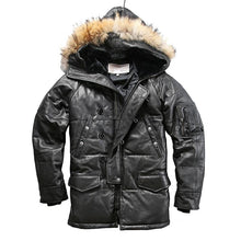 Load image into Gallery viewer, quality super warm genuine sheep skin duck down leather jacket men's sheep leather duck down coat