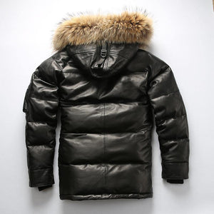 quality super warm genuine sheep skin duck down leather jacket men's sheep leather duck down coat