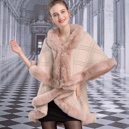 Women's Winter Ponchos Double Shawl Faux Rabbit Fur Collar Plaid Cloak Plus Size Loose Knit Cardigan Cape Coat