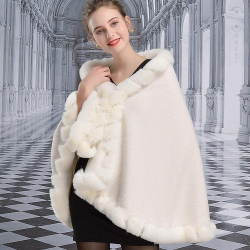 Winter Faux Fur Cardigan Women Thick Fashion Poncho Fake Rabbit Fur Collar Cloak Plus Size Lamb Shawl Cape Loose Coat