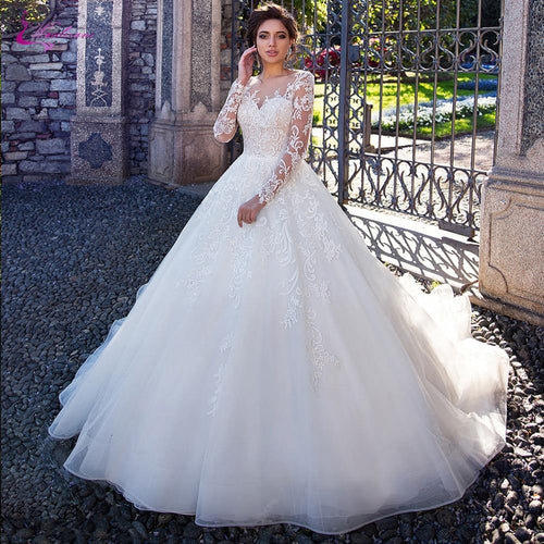 Full Sleeve A Line Wedding Dress With Elegant Lace Of Button Closure Bridal Dress