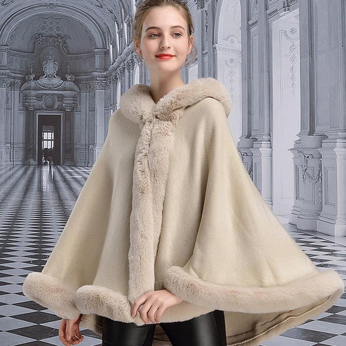 Winter Cape Women Faux Rabbit Fur Hooded Collar Poncho Fashion Cloak Plus Size Warm Thick Cardigan Coat