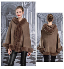 Load image into Gallery viewer, Winter Cape Women Faux Rabbit Fur Hooded Collar Poncho Fashion Cloak Plus Size Warm Thick Cardigan Coat