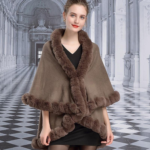 Winter Cape Women Faux Rabbit Fur Collar Double Cloak Long High-end Luxury Shawl Cape Plus Size Loose Poncho Cardigan Coat