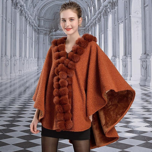 Winter Cape Women Fashion Faux Rabbit Fur With Ball Poncho Thick Warm Plus Size Vintage Cardigan Cloak Coat