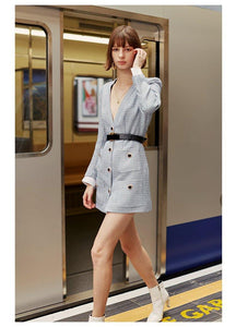 fashion Designer Coat woman Blazer-Dress Women's Button Sexy slim Mini Dress Blazer