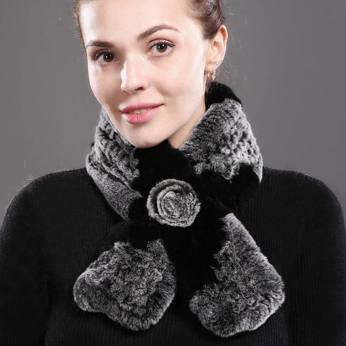 Women 100% Real Rex Rabbit Fur Scarf Worm Soft Rex Rabbit Fur Neckerchief Ring Fashion Rabbit Fur Wrap Scarves