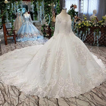 Load image into Gallery viewer, luxury wedding dresses long sleeve o neck open back ball gown bridal dress up gowns