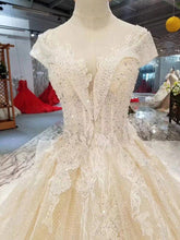 Load image into Gallery viewer, cap sleeves crystal wedding dresses with detachable long train appliques wedding gowns ball gown dress