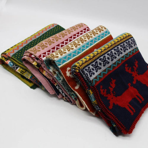 Christmas Scarf High quality fashion women men xmas reindeer knitted acrylic winter autumn scarf shawls outside cold wraps