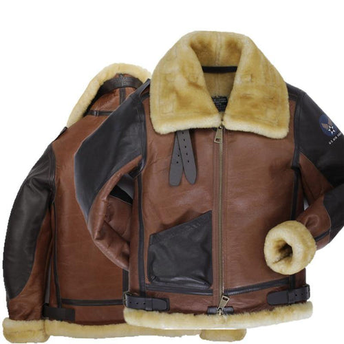 B3 shearling hat Bomber Fur military pilot Leather jacket Top Luxury leather Jacket For MAN