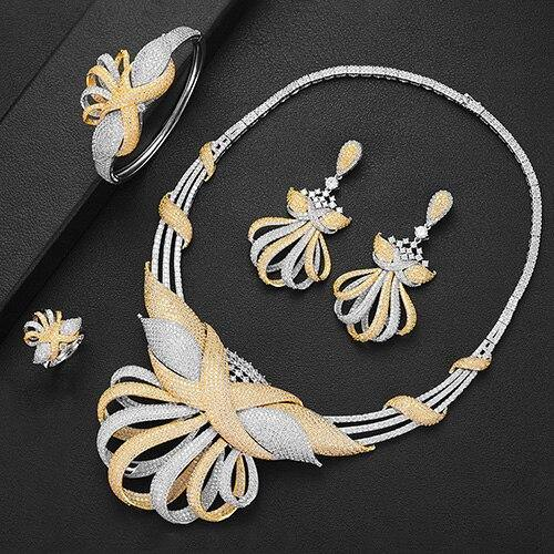 Luxury Statement Necklace Earring Bangle Ring Sets Jewelry Sets For Women Cubic Zircon Wedding Bridal Jewelry Set
