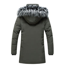 Load image into Gallery viewer, Winter Men's Long Parkas Thicken Warm Coat Hooded Fur Collar Coats Windproof Padded Jackets Hat Detachable Fashion Overcoat