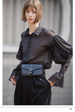 Load image into Gallery viewer, Women Street Wear Black Sleeve Blouse Women gothic Tops Ruffle Shirts loose High Quality Fashion Blouse