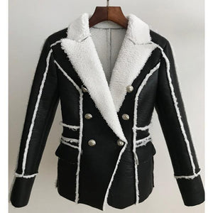 Work Wear Stylish Designer Jacket Women's Double Breasted Lion Buttons Faux Fur Leather Blazer Coat