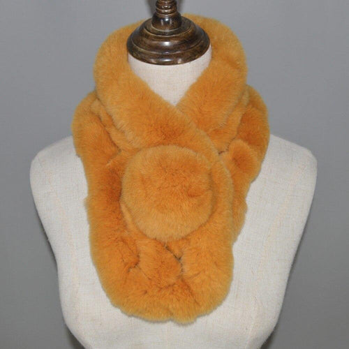 Real Rex Rabbit Fur Scarf Autumn And Winter Real fur Scarves Natural Rabbit Scarf With Ball Pele Scarves Rabbit Fur Rings