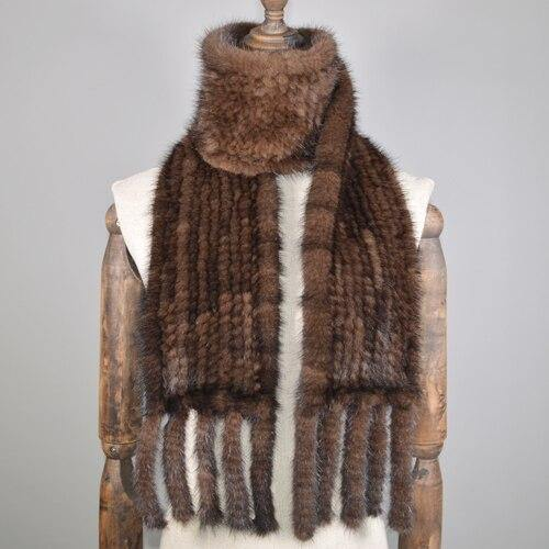 Women Real Mink Fur Scarf Genuine Real Mink Fur Scarfs Warm Soft Quality Knitted Real Mink Fur Shawl Scarves